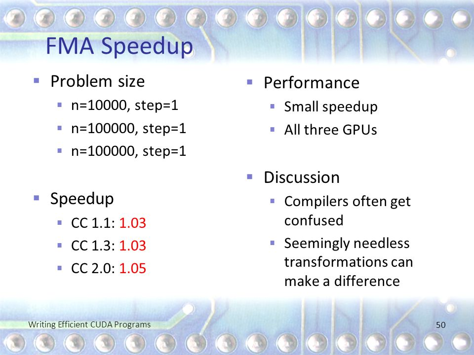 FMA Speedup  Problem size  n=10000, step=1  n=100000, step=1  Speedup  CC 1.1: 1.03  CC 1.3: 1.03  CC 2.0: 1.05  Performance  Small speedup 