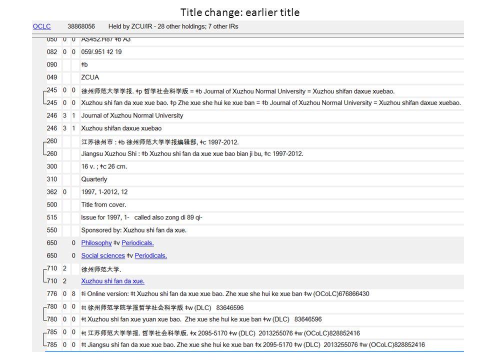 Title change: earlier title 11