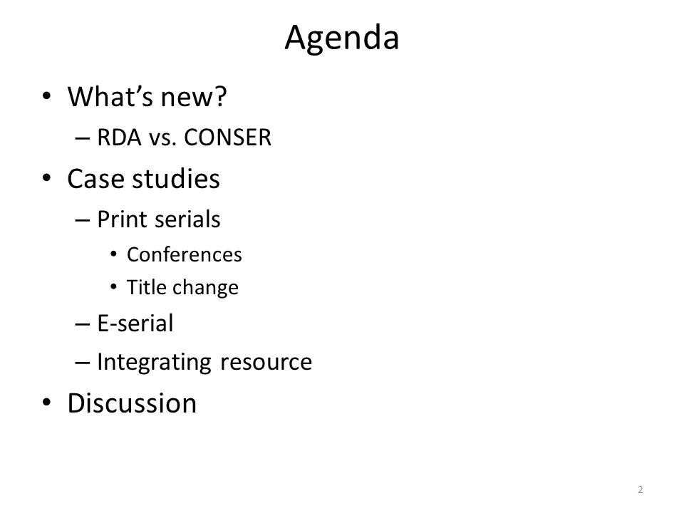 Agenda What's new. – RDA vs.