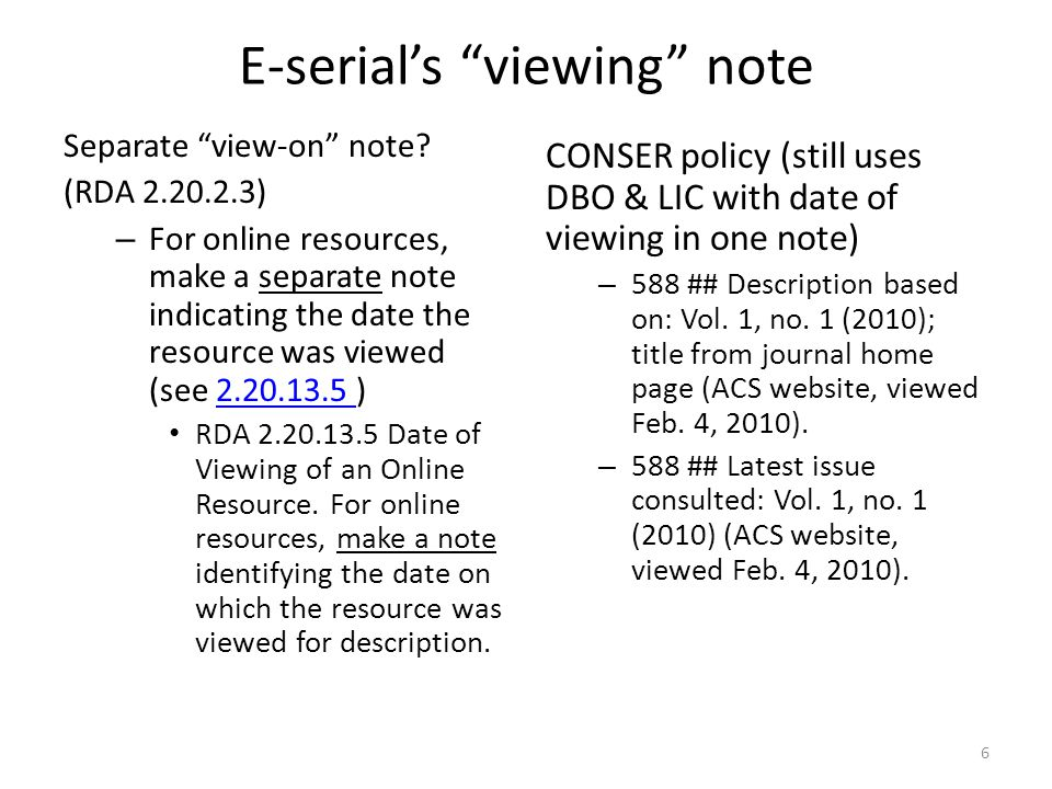 E-serial's viewing note Separate view-on note.