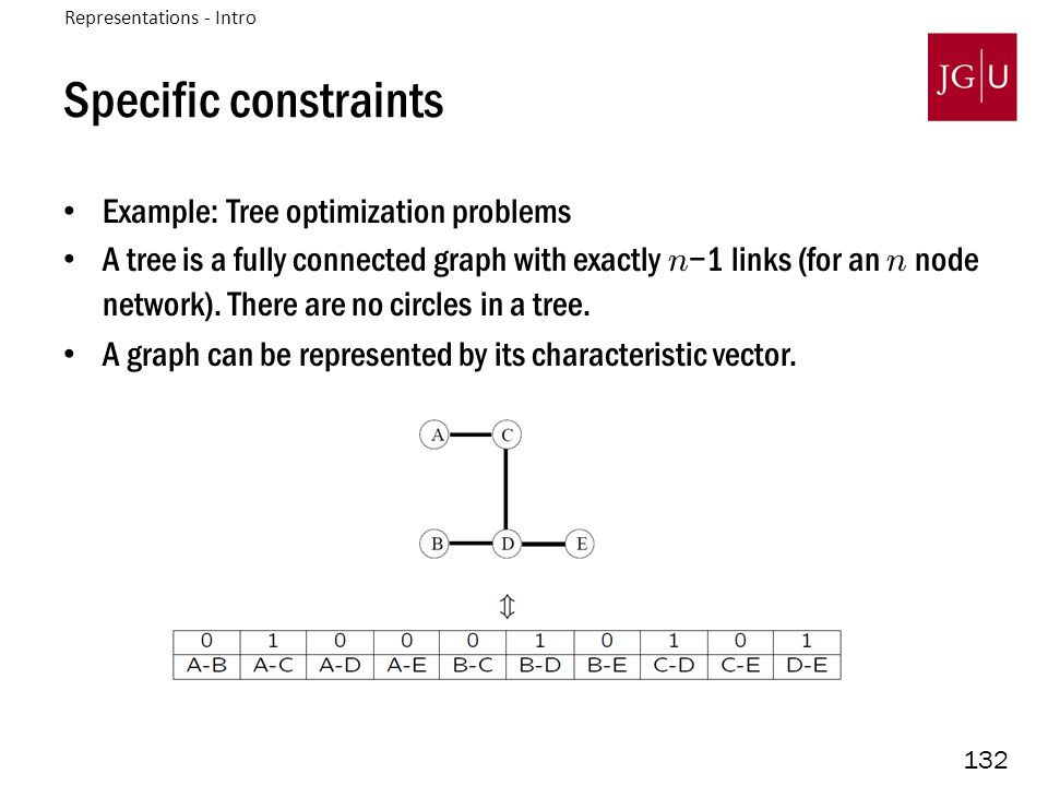 132 Specific constraints Example: Tree optimization problems A tree is a fully connected graph with exactly n −1 links (for an n node network).