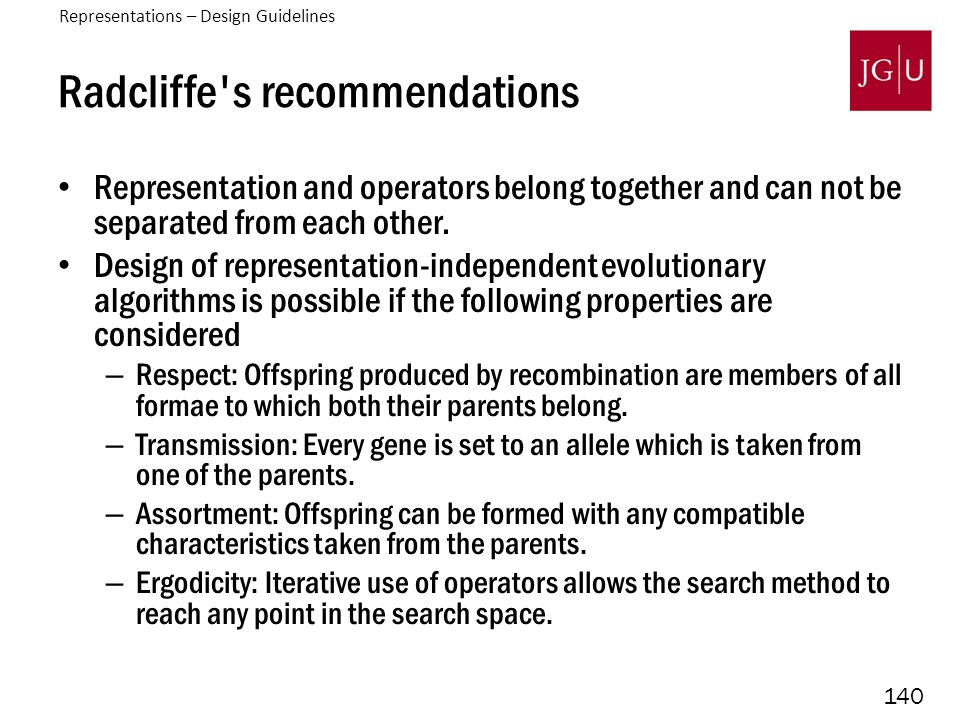 140 Radcliffe s recommendations Representation and operators belong together and can not be separated from each other.