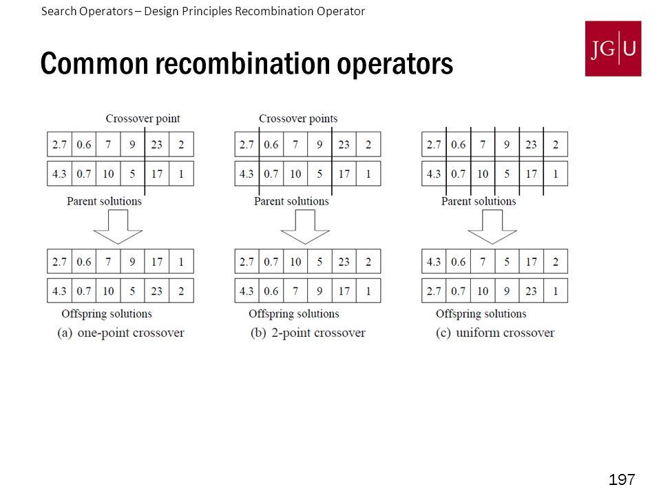 197 Common recombination operators Search Operators – Design Principles Recombination Operator