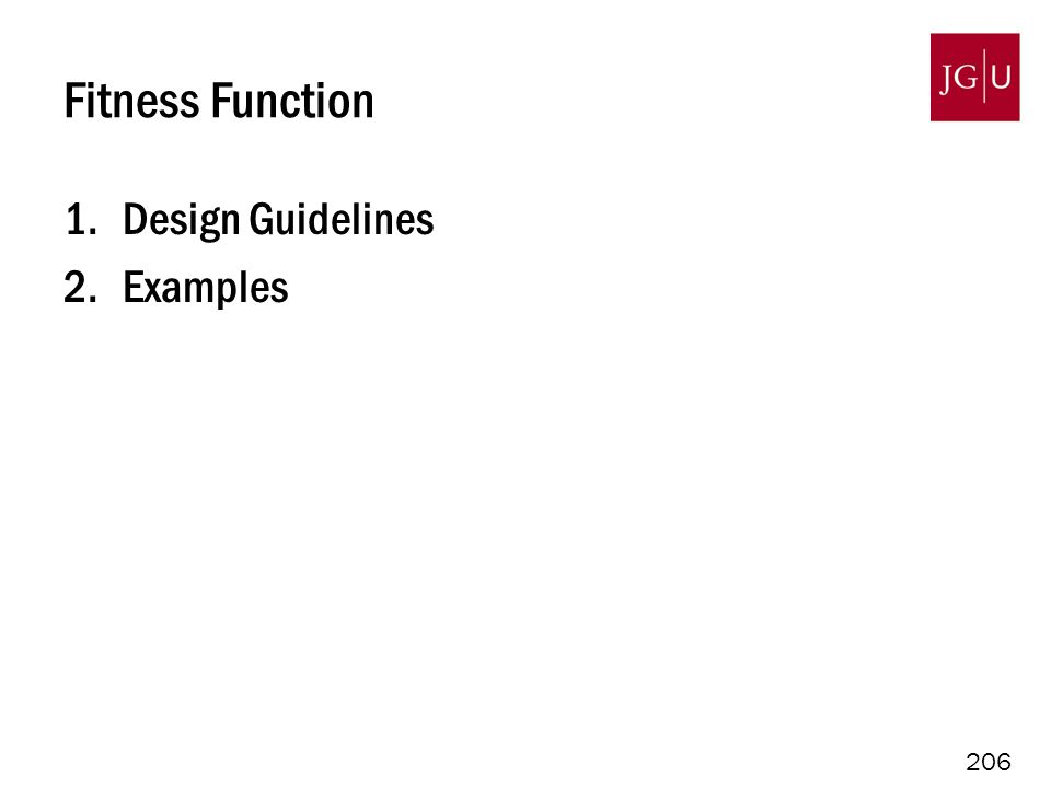 206 Fitness Function 1.Design Guidelines 2.Examples