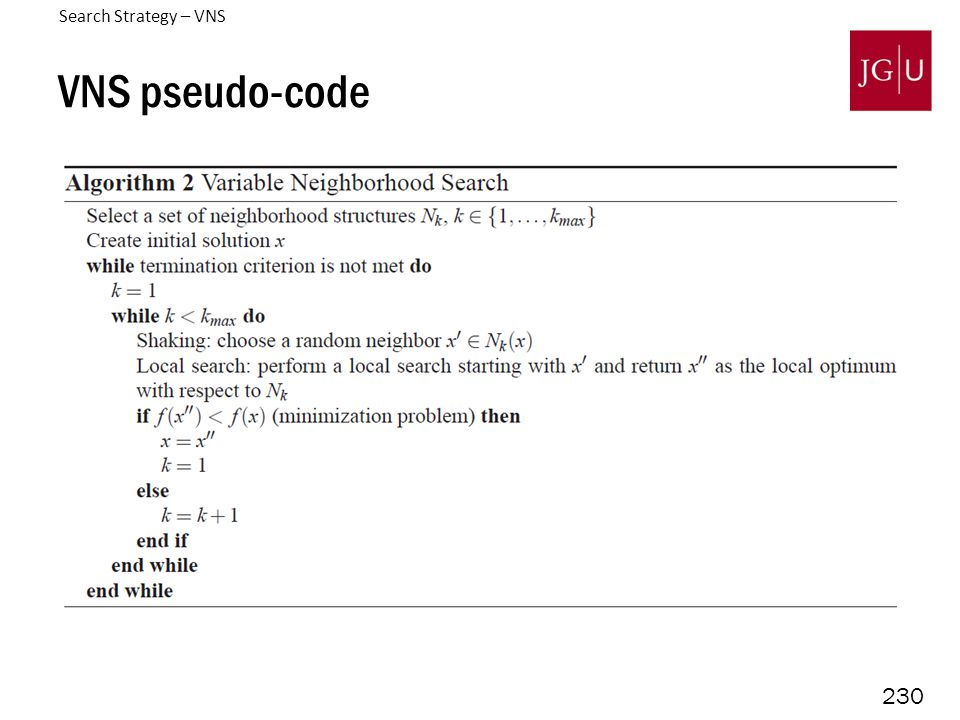 230 VNS pseudo-code Search Strategy – VNS