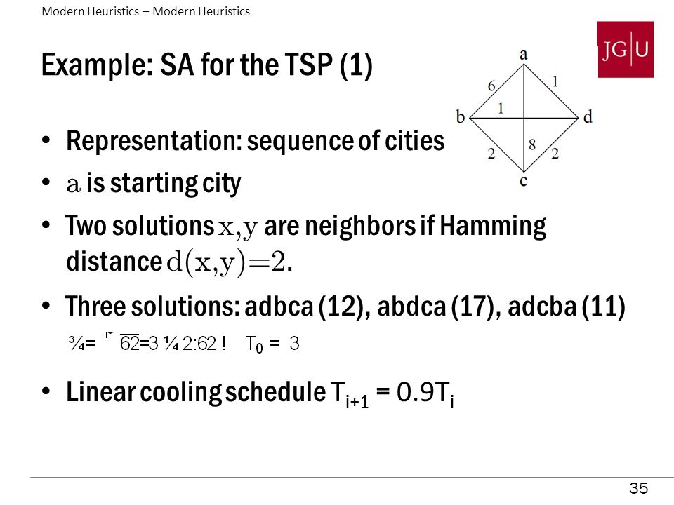 35 Example: SA for the TSP (1) Representation: sequence of cities a is starting city Two solutions x,y are neighbors if Hamming distance d(x,y)=2.