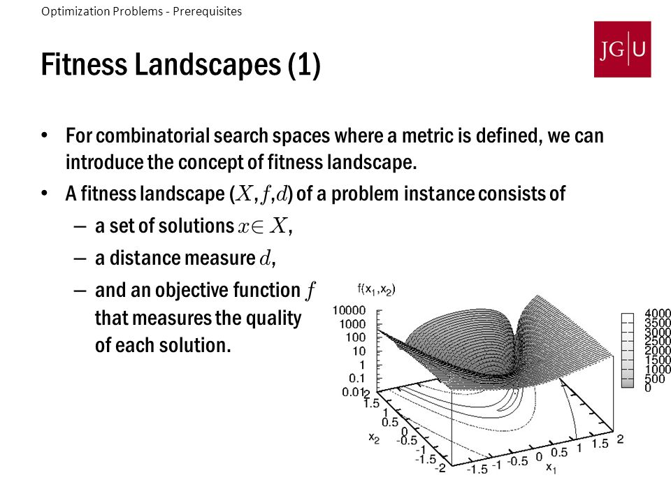 51 Fitness Landscapes (1) For combinatorial search spaces where a metric is defined, we can introduce the concept of fitness landscape. A fitness land