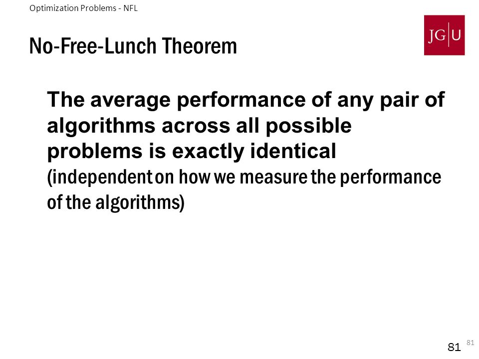 81 The average performance of any pair of algorithms across all possible problems is exactly identical (independent on how we measure the performance