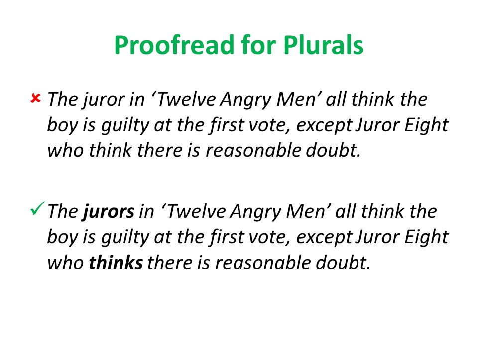Proofread for Plurals  The juror in 'Twelve Angry Men' all think the boy is guilty at the first vote, except Juror Eight who think there is reasonable doubt.