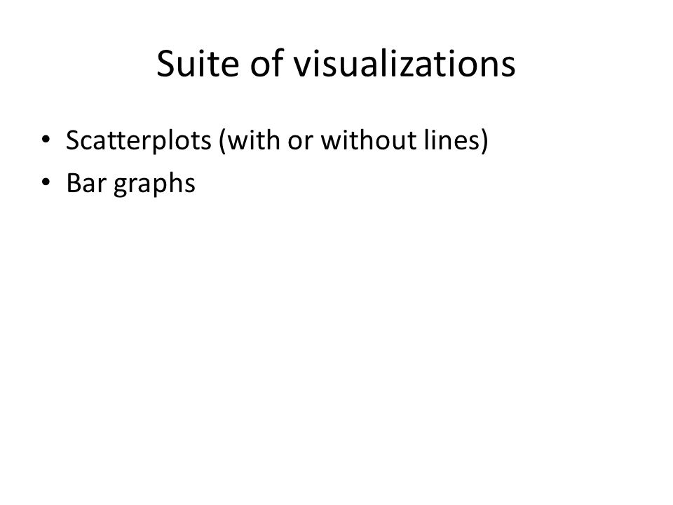 Suite of visualizations Scatterplots (with or without lines) Bar graphs