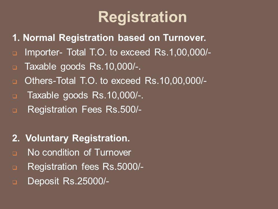 Registration 1. Normal Registration based on Turnover.