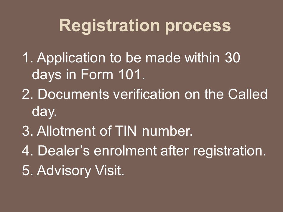 Registration process 1. Application to be made within 30 days in Form 101.