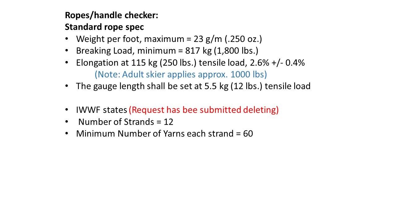 Ropes/handle checker: Standard rope spec Weight per foot, maximum = 23 g/m (.250 oz.) Breaking Load, minimum = 817 kg (1,800 lbs.) Elongation at 115 kg (250 lbs.) tensile load, 2.6% +/- 0.4% (Note: Adult skier applies approx.