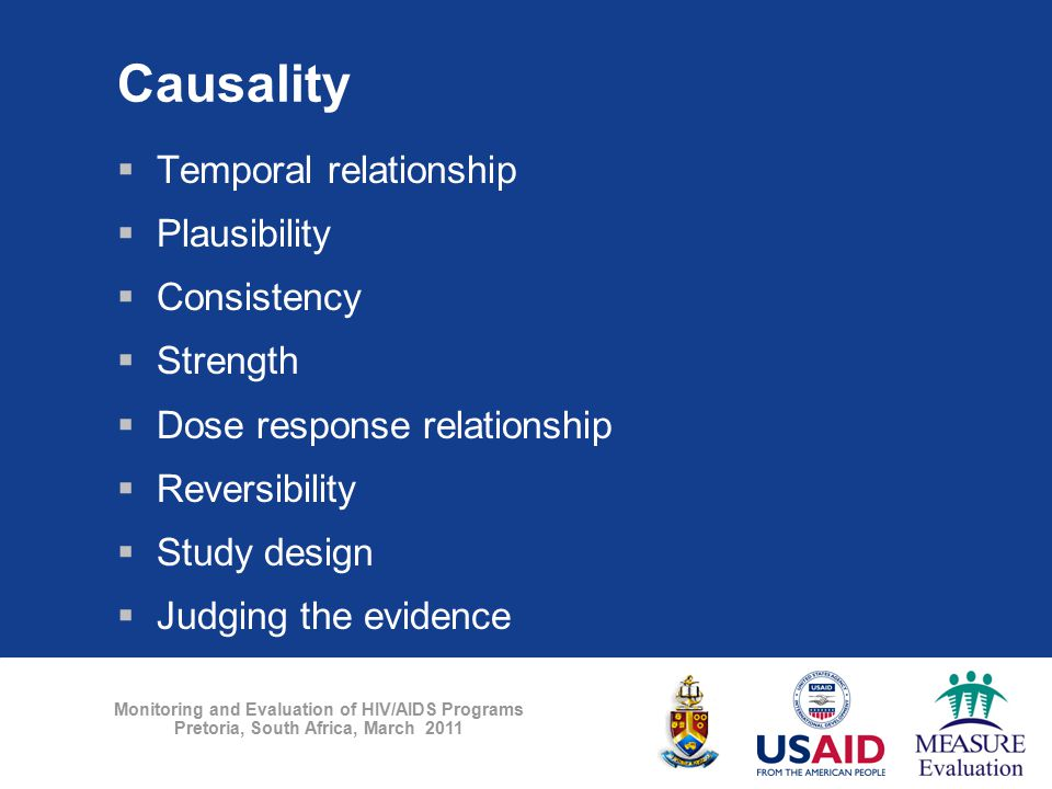 Monitoring and Evaluation of HIV/AIDS Programs Pretoria, South Africa, March 2011 Causality  Temporal relationship  Plausibility  Consistency  Str