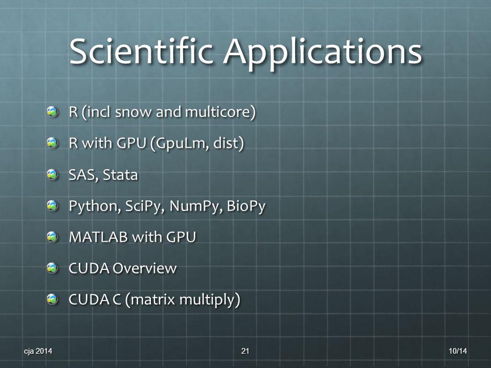 Scientific Applications R (incl snow and multicore) R with GPU (GpuLm, dist) SAS, Stata Python, SciPy, NumPy, BioPy MATLAB with GPU CUDA Overview CUDA