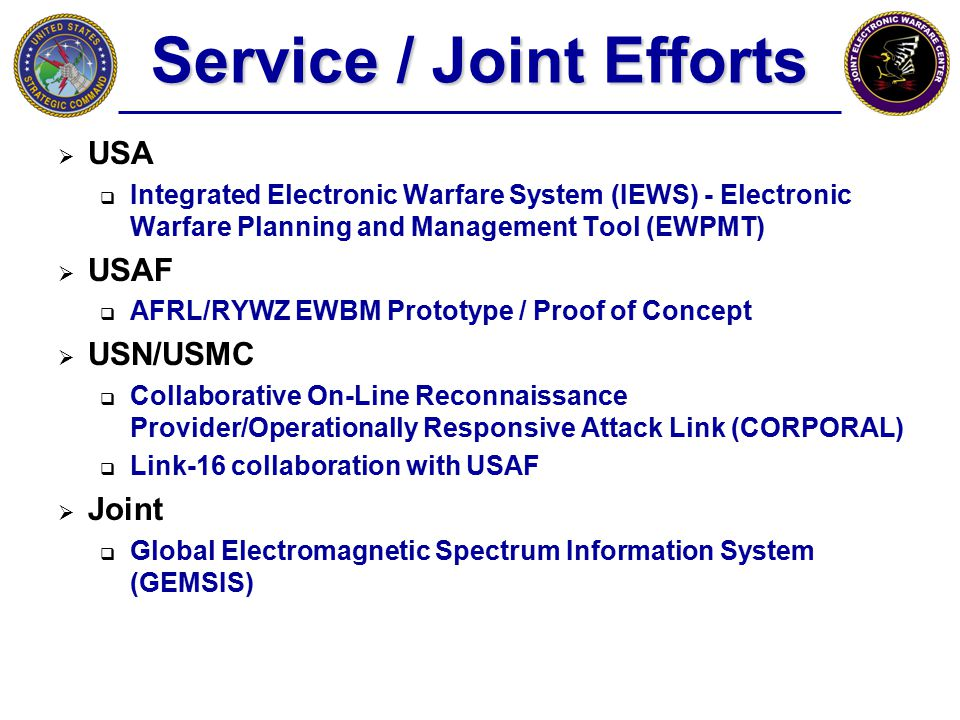 Service / Joint Efforts  USA  Integrated Electronic Warfare System (IEWS) - Electronic Warfare Planning and Management Tool (EWPMT)  USAF  AFRL/RY