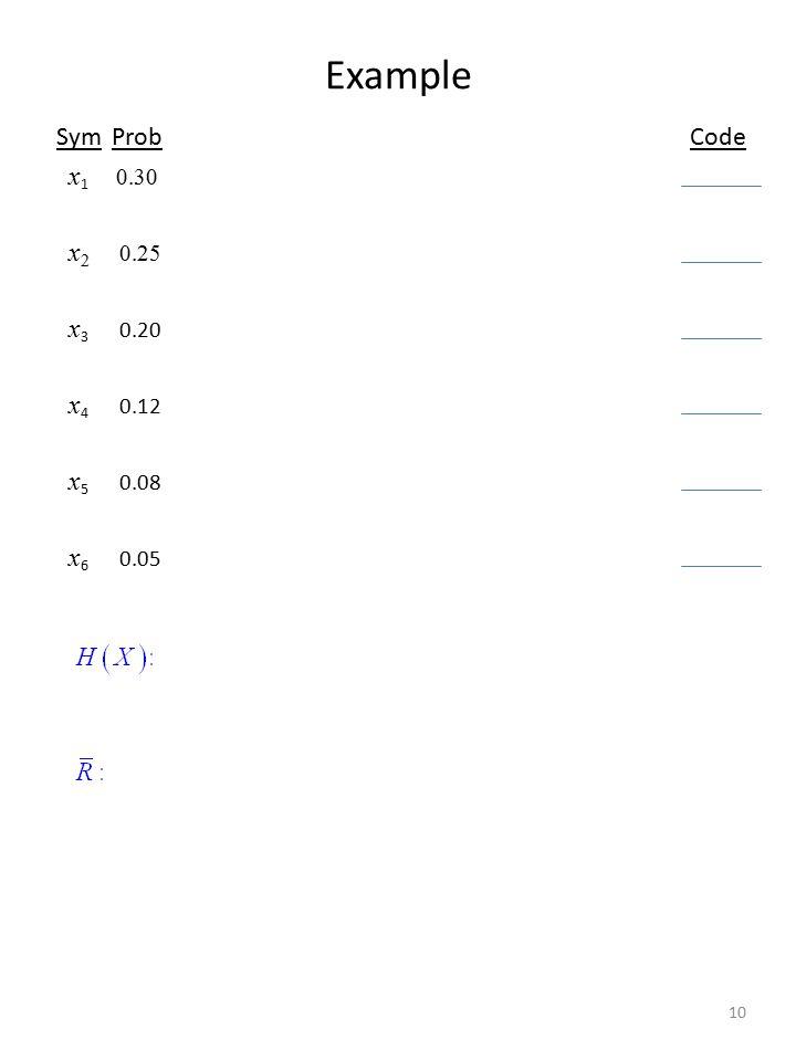 Example 10 SymProb Code x 1 0.30 x 2 0.25 x 3 0.20 x 4 0.12 x 5 0.08 x 6 0.05