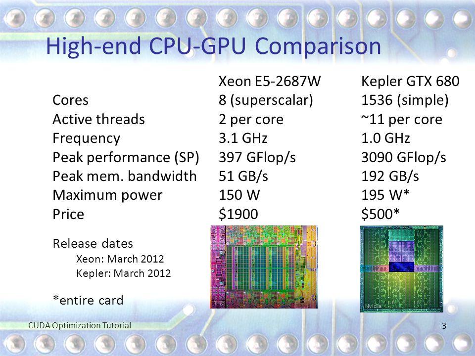 High-end CPU-GPU Comparison Xeon E5-2687W Kepler GTX 680 Cores8 (superscalar)1536 (simple) Active threads2 per core~11 per core Frequency3.1 GHz1.0 GH