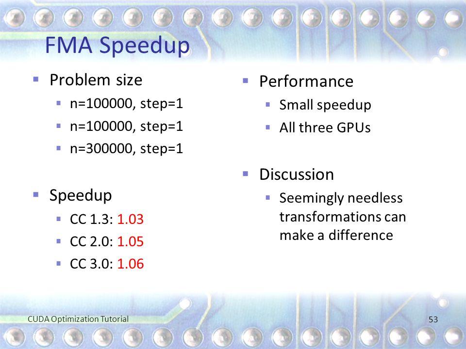 FMA Speedup  Problem size  n=100000, step=1  n=300000, step=1  Speedup  CC 1.3: 1.03  CC 2.0: 1.05  CC 3.0: 1.06  Performance  Small speedup