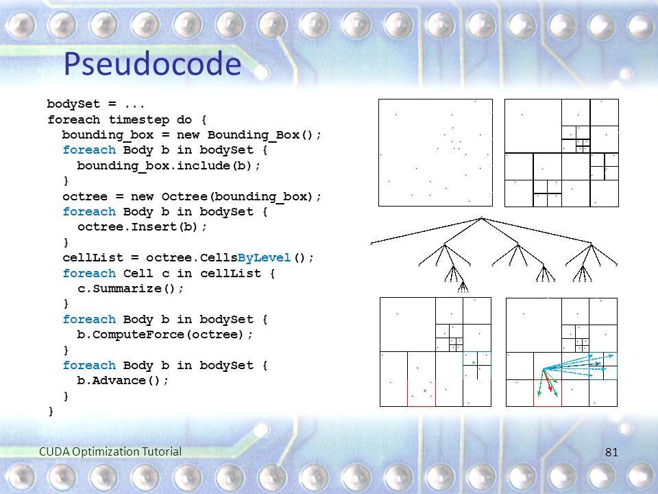 Pseudocode bodySet =... foreach timestep do { bounding_box = new Bounding_Box(); foreach Body b in bodySet { bounding_box.include(b); } octree = new O
