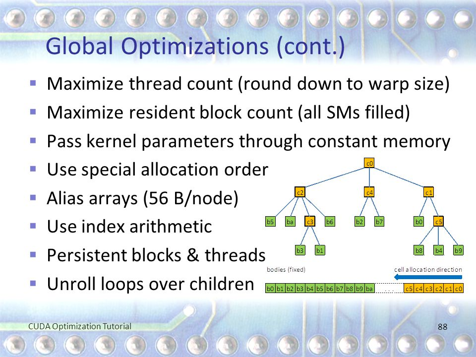 Global Optimizations (cont.)  Maximize thread count (round down to warp size)  Maximize resident block count (all SMs filled)  Pass kernel paramete