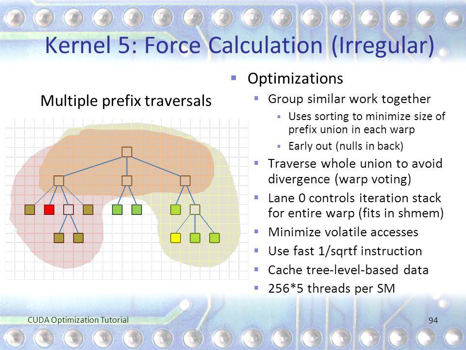 Kernel 5: Force Calculation (Irregular) Multiple prefix traversals  Optimizations  Group similar work together  Uses sorting to minimize size of pr