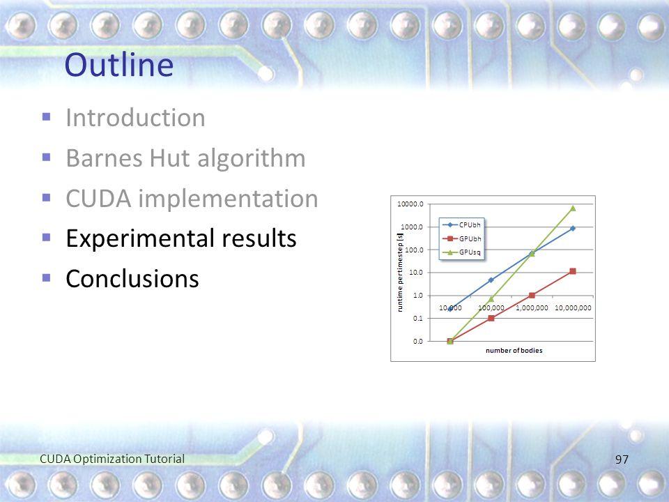 Outline  Introduction  Barnes Hut algorithm  CUDA implementation  Experimental results  Conclusions CUDA Optimization Tutorial 97