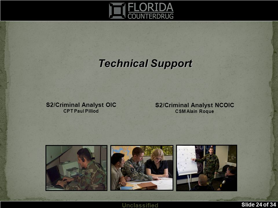 Slide 24 of 34 Unclassified Technical Support S2/Criminal Analyst OIC CPT Paul Pilliod S2/Criminal Analyst NCOIC CSM Alain Roque