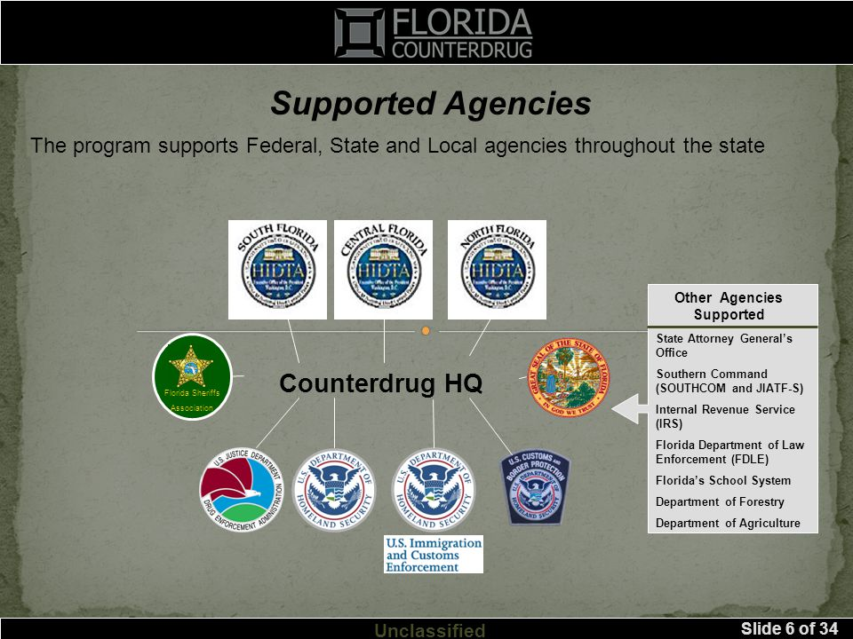 Slide 6 of 34 Unclassified Supported Agencies The program supports Federal, State and Local agencies throughout the state Florida Sheriffs Association State Attorney General's Office Southern Command (SOUTHCOM and JIATF-S) Internal Revenue Service (IRS) Florida Department of Law Enforcement (FDLE) Florida's School System Department of Forestry Department of Agriculture Other Agencies Supported Counterdrug HQ