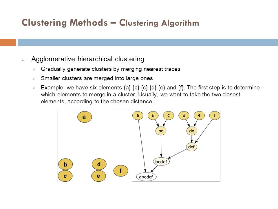 Clustering Methods – C lustering Algorithm □ Agglomerative hierarchical clustering  Gradually generate clusters by merging nearest traces  Smaller clusters are merged into large ones  Example: we have six elements {a} {b} {c} {d} {e} and {f}.