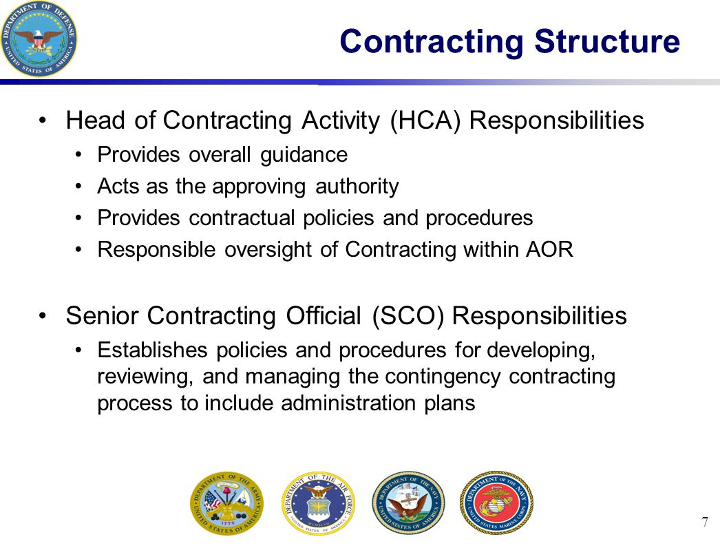 8 Contracting Structure The Regional Contracting Center (RCC) Chief, also known as the Chief of Contracting Office (COCO), has responsibilities to: Plan, direct, and supervise purchasing Contract, administer and closeout for supplies, services and construction for assigned customers Approve actions exceeding CCO authority Develop and execute to ensure maximum competition Set priorities for your requirements