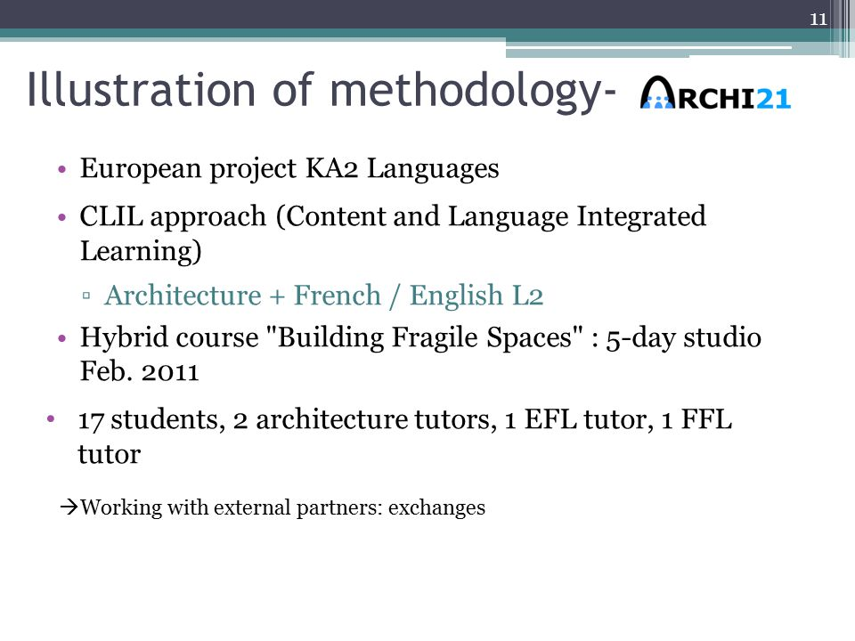 Illustration of methodology- European project KA2 Languages CLIL approach (Content and Language Integrated Learning) ▫Architecture + French / English L2 Hybrid course Building Fragile Spaces : 5-day studio Feb.