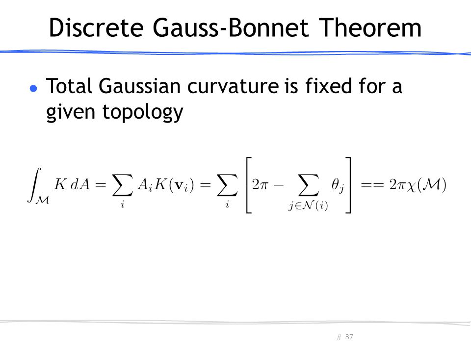 # Discrete Gauss-Bonnet Theorem ● Total Gaussian curvature is fixed for a given topology 37