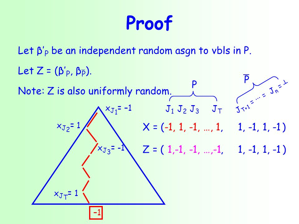 Proof Let β' P be an independent random asgn to vbls in P.