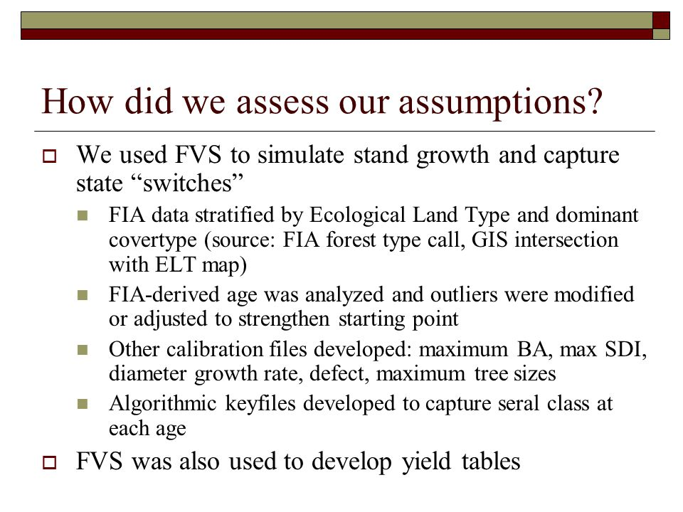 How did we assess our assumptions.