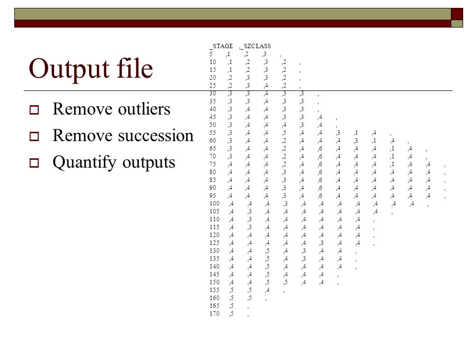 Output file  Remove outliers  Remove succession  Quantify outputs _STAGE,_SZCLASS 5,1,2,3, 10,1,2,3,2, 15,1,2,3,2, 20,2,3,3,2, 25,2,3,4,2, 30,3,3,4
