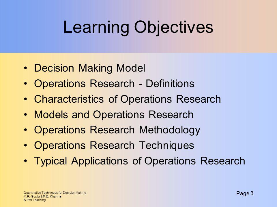 Quantitative Techniques for Decision Making M.P.Gupta & R.B.