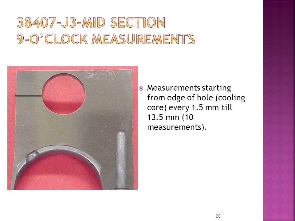 Measurements starting from edge of hole (cooling core) every 1.5 mm till 13.5 mm (10 measurements).