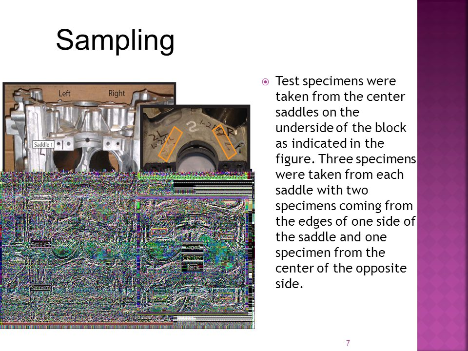 7  Test specimens were taken from the center saddles on the underside of the block as indicated in the figure.