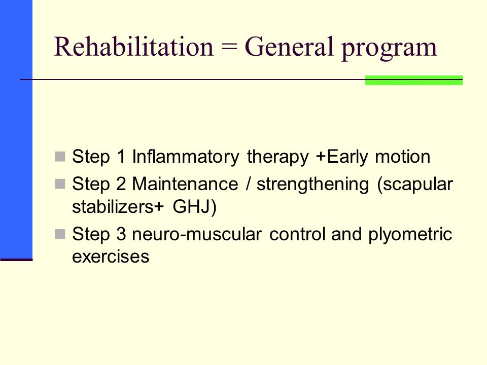 Rehabilitation = General program Step 1 Inflammatory therapy +Early motion Step 2 Maintenance / strengthening (scapular stabilizers+ GHJ) Step 3 neuro-muscular control and plyometric exercises