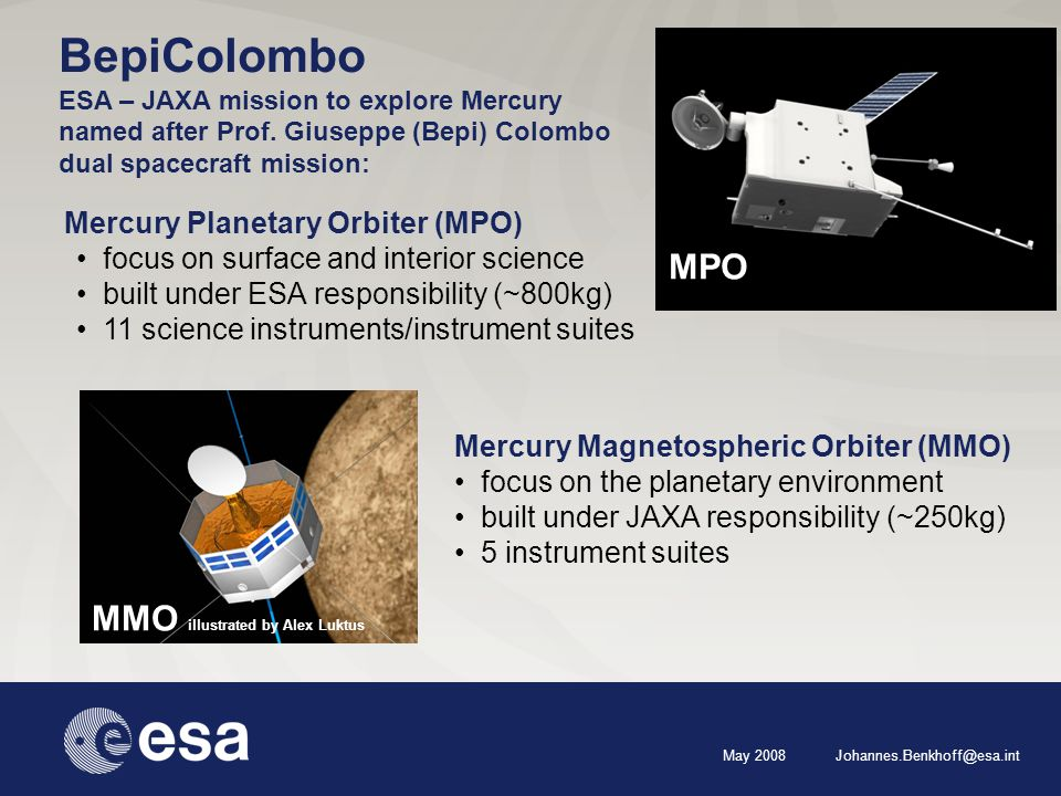 May 2008 Johannes.Benkhoff@esa.int Mercury Planetary Orbiter (MPO) focus on surface and interior science built under ESA responsibility (~800kg) 11 science instruments/instrument suites MPO MMO illustrated by Alex Luktus Mercury Magnetospheric Orbiter (MMO) focus on the planetary environment built under JAXA responsibility (~250kg) 5 instrument suites BepiColombo ESA – JAXA mission to explore Mercury named after Prof.