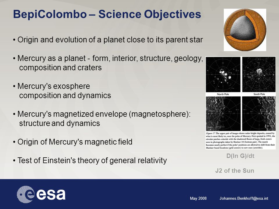 May 2008 Johannes.Benkhoff@esa.int Origin and evolution of a planet close to its parent star Mercury as a planet - form, interior, structure, geology, composition and craters Mercury s exosphere composition and dynamics Mercury s magnetized envelope (magnetosphere): structure and dynamics Origin of Mercury s magnetic field Test of Einstein s theory of general relativity BepiColombo – Science Objectives D(ln G)/dt J2 of the Sun