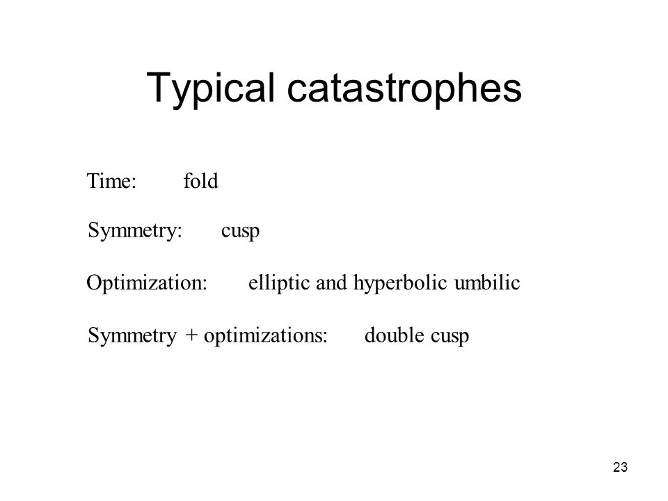 23 Typical catastrophes Time: fold Symmetry:cusp Optimization: elliptic and hyperbolic umbilic Symmetry + optimizations: double cusp