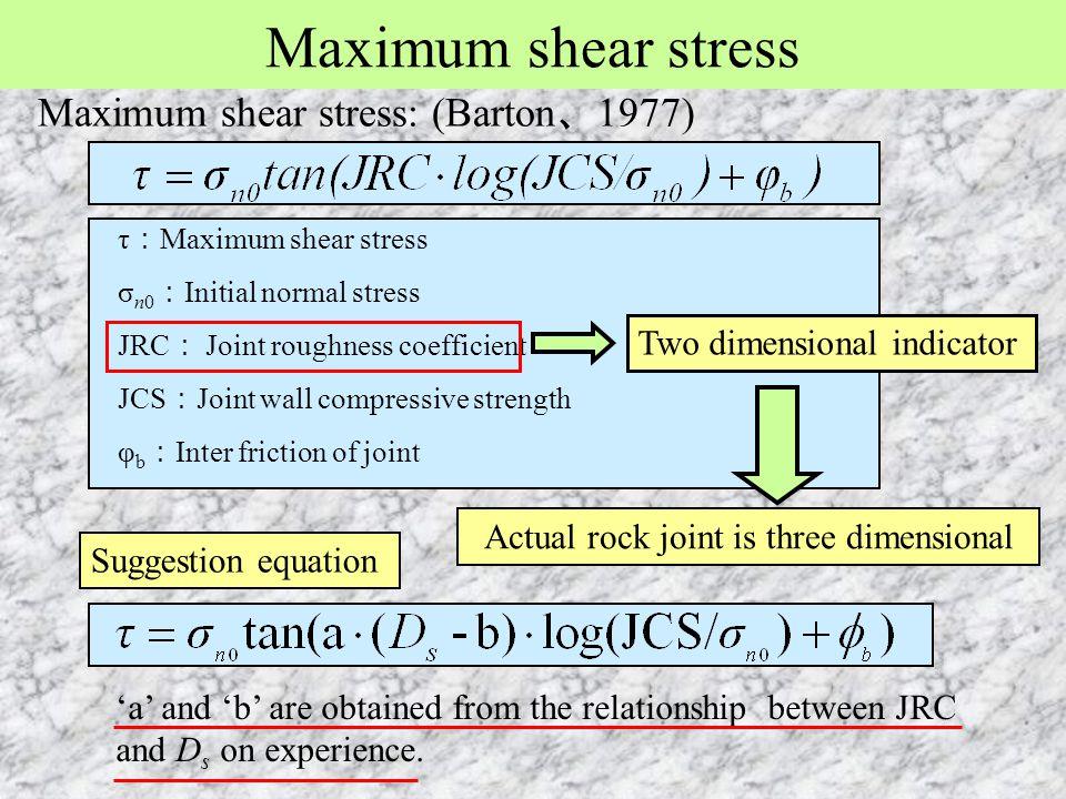 Maximum shear stress τ : Maximum shear stress σ n0 : Initial normal stress JRC : Joint roughness coefficient JCS : Joint wall compressive strength φ b