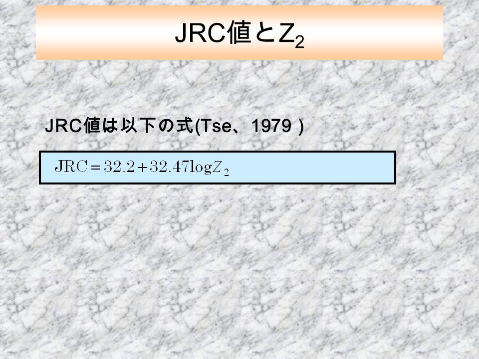 JRC 値は以下の式 (Tse 、 1979 ) JRC 値と Z 2