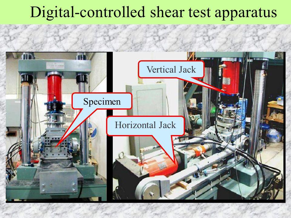 Digital-controlled shear test apparatus Horizontal Jack Vertical Jack Specimen