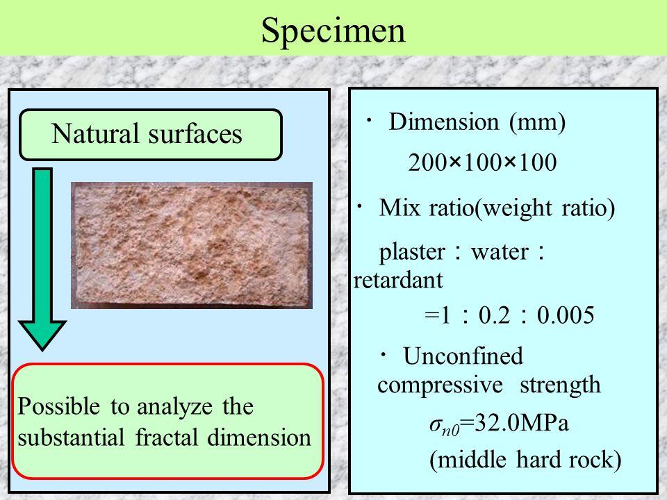 ・ Mix ratio(weight ratio) plaster : water : retardant =1 : 0.2 : 0.005 ・ Unconfined compressive strength σ n0 =32.0MPa (middle hard rock) Specimen Nat