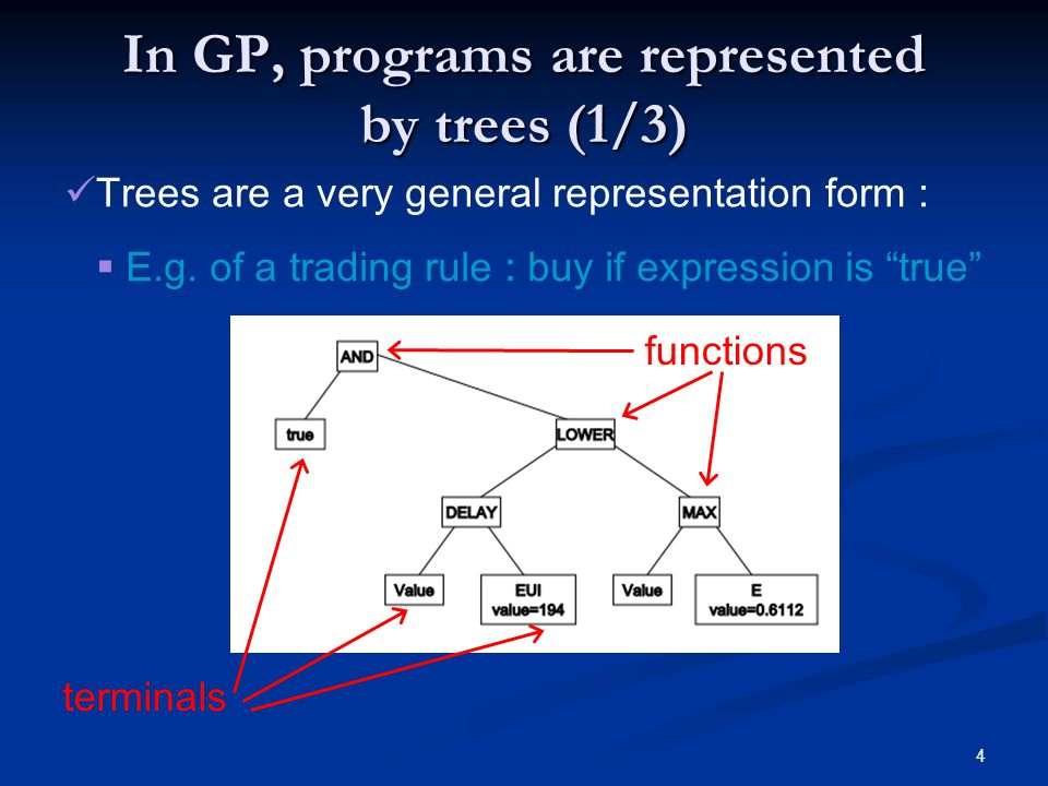 4 In GP, programs are represented by trees (1/3) Trees are a very general representation form :  E.g.