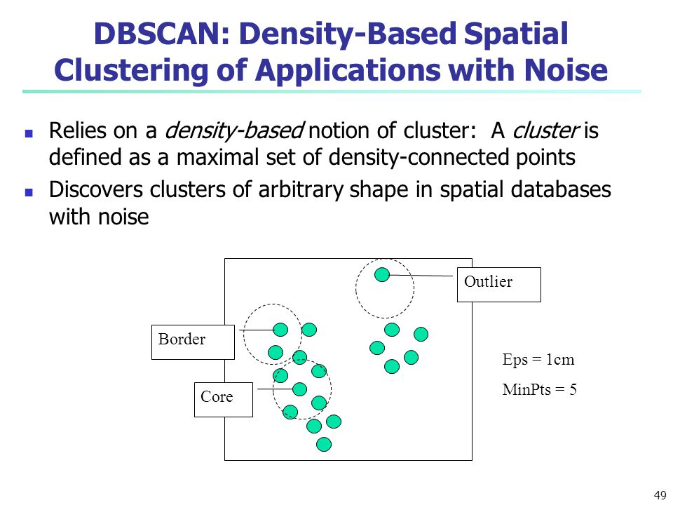 DBSCAN: Density-Based Spatial Clustering of Applications with Noise Relies on a density-based notion of cluster: A cluster is defined as a maximal set