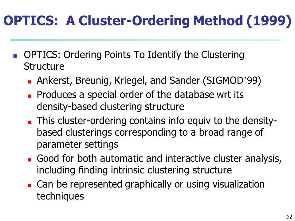 OPTICS: A Cluster-Ordering Method (1999) OPTICS: Ordering Points To Identify the Clustering Structure Ankerst, Breunig, Kriegel, and Sander (SIGMOD '